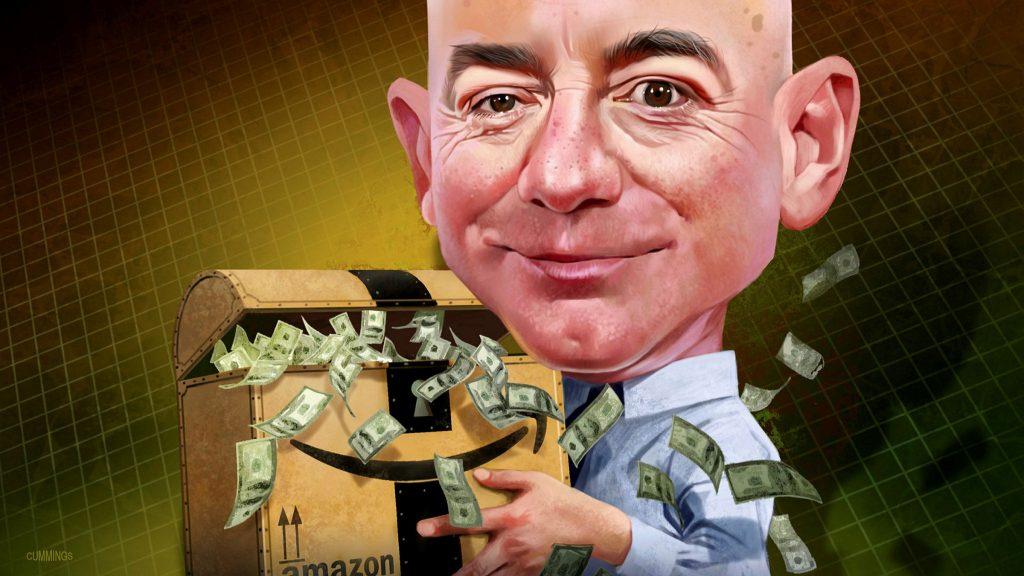 caricatura de Jeff Bezos dueño de Amazon con miles de dólares