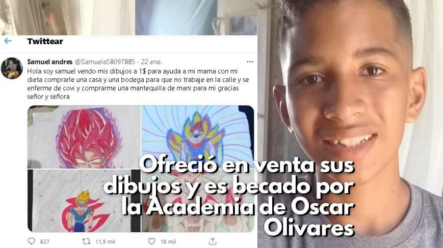samuel-Ofreció en venta sus dibujos y es becado por la Academia de Oscar Olivares