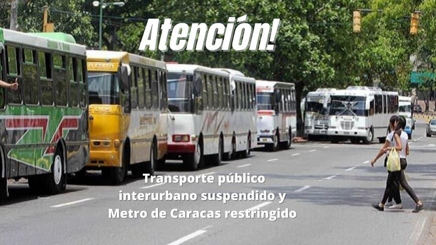 Atención! Transporte público interurbano suspendido y Metro de Caracas restringido