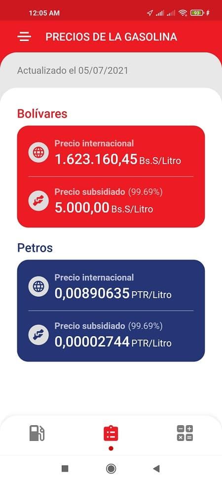 precio gasolina subsidiada