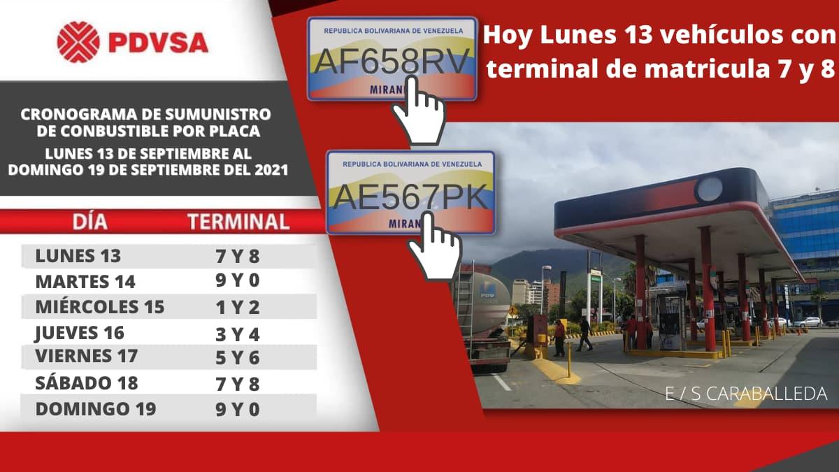 cronograma gasolina DEL 13 AL 19 septiembre 2021 caraballeda