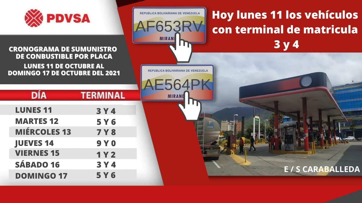 cronograma gasolina octubre 2021